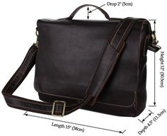 Convertible Flapover Shoulder Bag with 3 Exterior Pockets and Inner Laptop Compartment