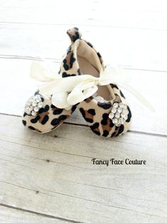 Leopard Baby Girl Shoes Little Girls crib shoes Ballet Slippers Soft Sole Vintage Crystal Leopard  Newborn-Infant Children- Baby Shower Gift. $18.99, via Etsy.
