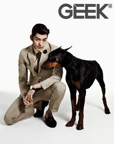 Kim Woo Bin - Geek Magazine March Issue '13 My favorite guy and favorite dog breed together! PERFECT!