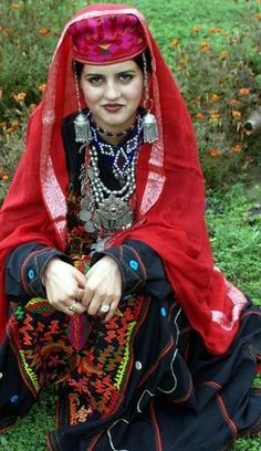 A woman from the Indian State of jammu-kashmir. As my Board of Indian Woman states that the costume depicts the State an Indian woman belongs to. Description by Pinner Mahua Roy Chowdhury. We Are The World, People Of The World, Traditional Fashion, Traditional Dresses, Costume Ethnique, Kashmir India, Kashmir Pakistan, Costumes Around The World, Folk Costume