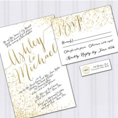 Announce your big celebration with this golden confetti themed wedding invitation set. Gold foil wedding invitation, Gold confetti wedding invitations.  Budget wedding invites.