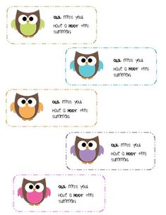 "Use these adorable owl themed tags for your end of year student goody bags.  Each tag says ""Owl miss you!  Have a hoot this summer!"""