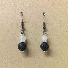 Lava Stone Earrings with Clear Quartz