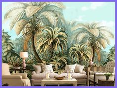 Large Backdrop 3d Wallpaper Mural Hand-painted tropical plants Wallpapers For Living Room Bedroom Decorar Muebles