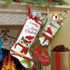 7ca899c95c2 Owl and Fox Personlized Christmas Stockings Cheap Christmas Gifts
