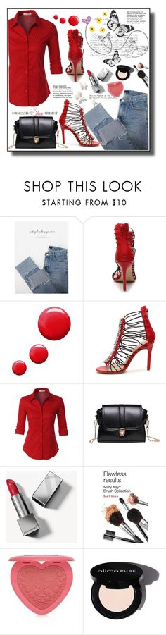 """""""Obsessive Shoe Addict"""" by markitahamilton3 ❤ liked on Polyvore featuring stylebyyam, Topshop, LE3NO, Burberry and Too Faced Cosmetics"""
