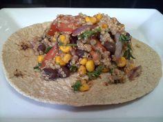 Quinoa salad on tortilla