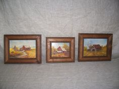 "Three OLD Miniature Oil-Acrylic Paintings ! 1980 signed S.Fore "" BAR N HOUSES""  * uniquily framed by LIZ404 on Etsy"