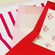 Patterned pink and red liners make for sweet valentines