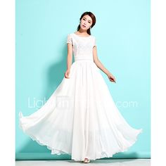 Women's Going out Holiday Lace Chiffon Dress,Solid Round Neck Maxi Short Sleeve Rayon Spandex Spring Summer Mid Rise Micro-elastic Thin 2017 - $18.06