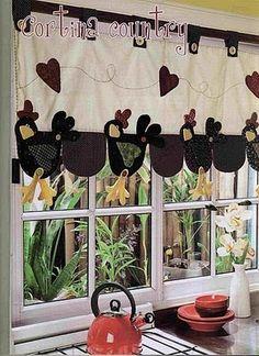 bandô de cortina em patchwork - galinha com molde