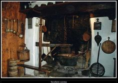 Rustic Italian Kitchen Firep lace cooking arm
