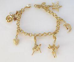 VTG Kirks Folly Rhinestone Charm Bracelet Fairies Heart Cherub Angel Moon Star  #KirksFolly #DropDangle