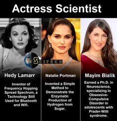 Women in Science. Hedy Lamarr, Natalie Portman, & Mayim Bialik are all actresses that have contributed to science!