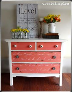 {createinpsire}: Antique Oak Dresser done in Miss Mustard Seed Apron Strings with french script stencil on drawer fronts.