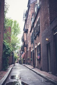 Fine Art Boston Photography  Beacon Hill Alley Boston, New England, Home Decor, Brick Brownstones, Alleyway, Spring, Boston in Spring, Gift for Dad