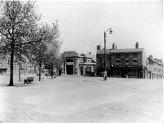 A view of Gosta Green c. 1944-5 showing the Delicia cinema (at this time, a venue for wrestling) and the Sacks of Potatoes pub. The Delicia Cinema opened on 5th November 1923, at a time when the neighbourhood consisted of streets of back-to-back housing. Later, the cinema would be used by the BBC as TV studios until Aston University purchased it in 1971. Today (2013) it houses the European Bioenergy Research Institute (EBRI).