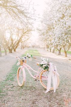 Incredible blossom filled almond orchard wedding inspiration 15 photos that ll have you dreaming of an outdoor wedding reception Bicycle Wedding, Rustic Wedding, Wedding Set, Wedding Ideas, Elegant Wedding, Wedding Blog, Free Wedding, Budget Wedding, Wedding Hair