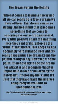 Narsissist  dream vs reality