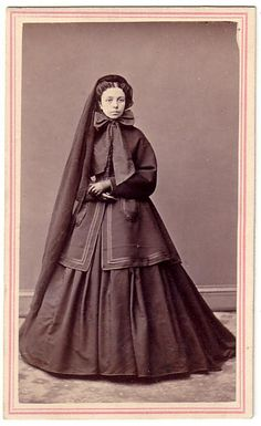 Woman in full mourning, 1860's.