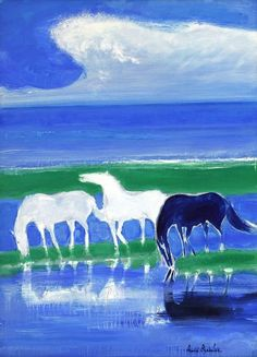 Official Site of Andre Brasilier - André Brasilier, contemporary painter Blue Horse, White Horses, Indigenous Art, Arte Floral, Equine Art, Horse Pictures, Horse Art, Beach Art, Beautiful Artwork
