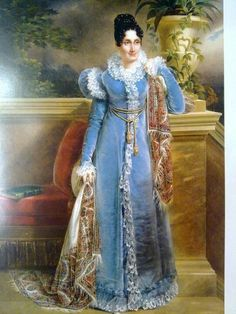 1816 Francois-Joseph Kinson - Portrait of a lady in blue dress