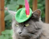 Cat (Dog) Robin Hood Hat - Peter Pan Hat - Free Hand Felted Wool Hat