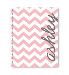Personalized spiral notebook - there is a matching clipboard and pocket folder, too! #backtoschool #notebook #chevron