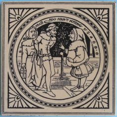 """One of the series of 24 scenes from plays by Shakespeare designed by John Moyr Smith for Mintons China Works, pattern No. 1408. Depicted here is: """"Much Ado About Nothing, Act IV, scene ii"""". The tile is..."""