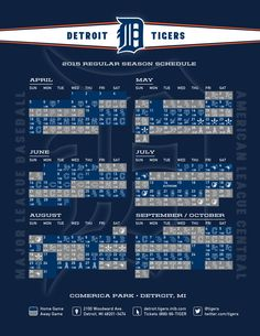 2015 Detroit Tigers schedule Graphic Design Resume, Detroit Tigers, Schedule, Seasons, Sports, Timeline, Hs Sports, Seasons Of The Year, Sport