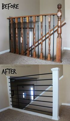 Stair Railing DIY Makeover - I changed my outdated oak balusters into something horizontal, modern, and sleek. You will love this stair railing DIY makeover all done in a week! Diy Stair Railing, Staircase Railings, Banisters, Stairway Railing Ideas, Modern Railings For Stairs, Diy Interior Railing, Outdoor Railings, Indoor Railing, Metal Stair Railing