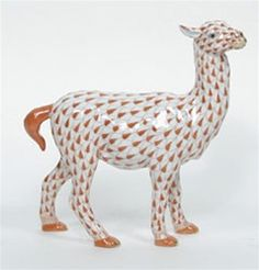 Herend Hand Painted Porcelain Figurine Llama Rust Fishnet Gold Accents.