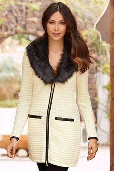 Faux-fur trim textured sweater coat from Boston Proper