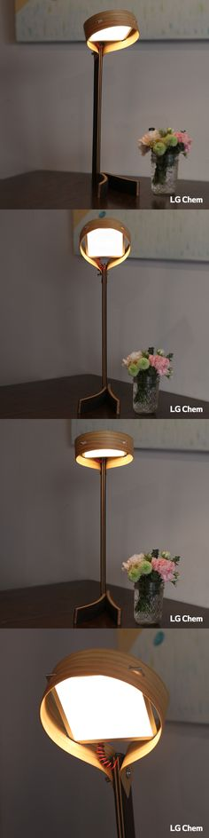 The drum shaped lamp made with LG Chem DIY Kit, which includes 100x100mm LG Chem OLED light panel and a driver. The angle of the bridge arm is easily adjustable which helps to differentiate the projected ranges of light. (Designed by Jung Hoon Ko)  www.lgoledlight.com  #LGChem #OLED #light #DIY #design #lamp