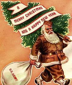 """American WWII poster, """"A Merry Christmas and a Happy New Year"""", 1943"""