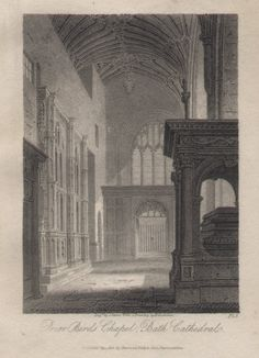 Print - Prior Bird's Chapel, Bath Cathedral. Pl.5 - Storer