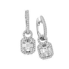 Fink's 14K White Gold Baguette Diamond Dangle Earrings