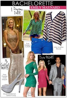 I'm loving Emily Maynard (and Arie, too!) on this season of The Bachelorette. She is giving mom style a really good rep because this girl has style. A fan favorite, Emily Maynard is bringing home more than just great ratings to the Bachelorette franchise, her casual and all natural style is fantastic too! To steal this Southern girl's sweet, yet undeniable sexy style for your own, I've put together a few looks from Daytime Date to Date Night to Cocktail Party.