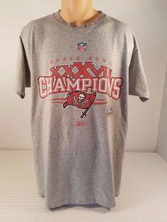 Mens NFL Super Bowl 37 XXXVII Champions Tampa Bay Buccaneers Reebok T-Shirt Sz L #Reebok #GraphicTee