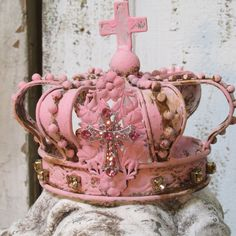 Rusty pink statue crown embellished with rhinestone jewelry and gems shabby chic home decor anita spero