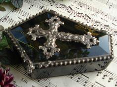 Halloween. Dark Art. Mrs. Tildo's Attic Handmade Stained Glass Art. Jewelry Box.