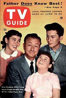 "TV Guide: June 1956 - Elinor Donahue, Robert Young, Lauren Chapin and Billy Gray of TV's ""Father Knows Best"" Old Tv Shows, Best Tv Shows, Favorite Tv Shows, Radios, Tv Fr, Movies And Series, Tv Series, Comedy Series, Robert Young"