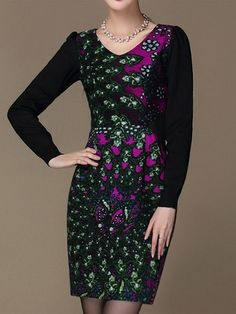 Charming V-Neck Floral Pattern Knit Long Sleeve Dress