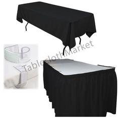 POLYESTER PLEATED TABLE SET SKIRT skirting 14' Ft. VELCRO + clip + Topper #TableclothMarket #shows