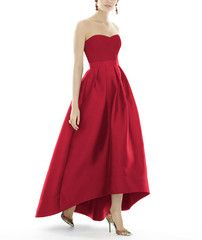 <h5>Description</h5> <ul> <li><span>Alfred Sung Style D699</span></li> <li>Fulllength bridesmaid dress</li> <li>Sweetheart neckline</li> <li>Matching belt at natural waist</li> <li>Hi-low hemline</li> <li>Pleated Aline skirt</li> <li>Pockets</li> <li>Sateen Twill</li> </ul>