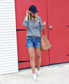 Gingham & leopard. Casual weekend wear outfit idea.