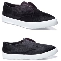 """J Slides NYC cow hair shoes Modern & Classy twist to the staple slip ons. Round toe. Solid vamp. Slip-on construction. Genuine cow hair upper (Black). Contrast bumper. Approx. 1"""" platform. Brand new in box. J Slide Shoes Sneakers"""