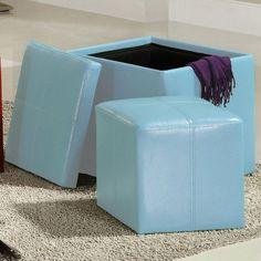 Chelsea Lane Ladd Storage Ottoman Cube Blue - 4723BL