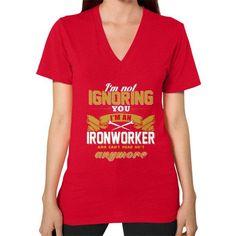 IM NOT IGIronworker V-Neck (on woman)