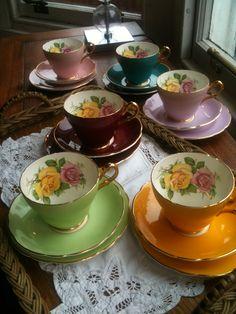 Beautiful harlequin vintage bone china tea service